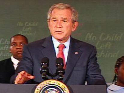 VIDEO: President Bush misspeaks while endorsing No Child Left Behind.