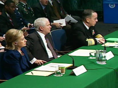 ABC News video of Clinton, Gates, Mullen testifying on Afghanistan.