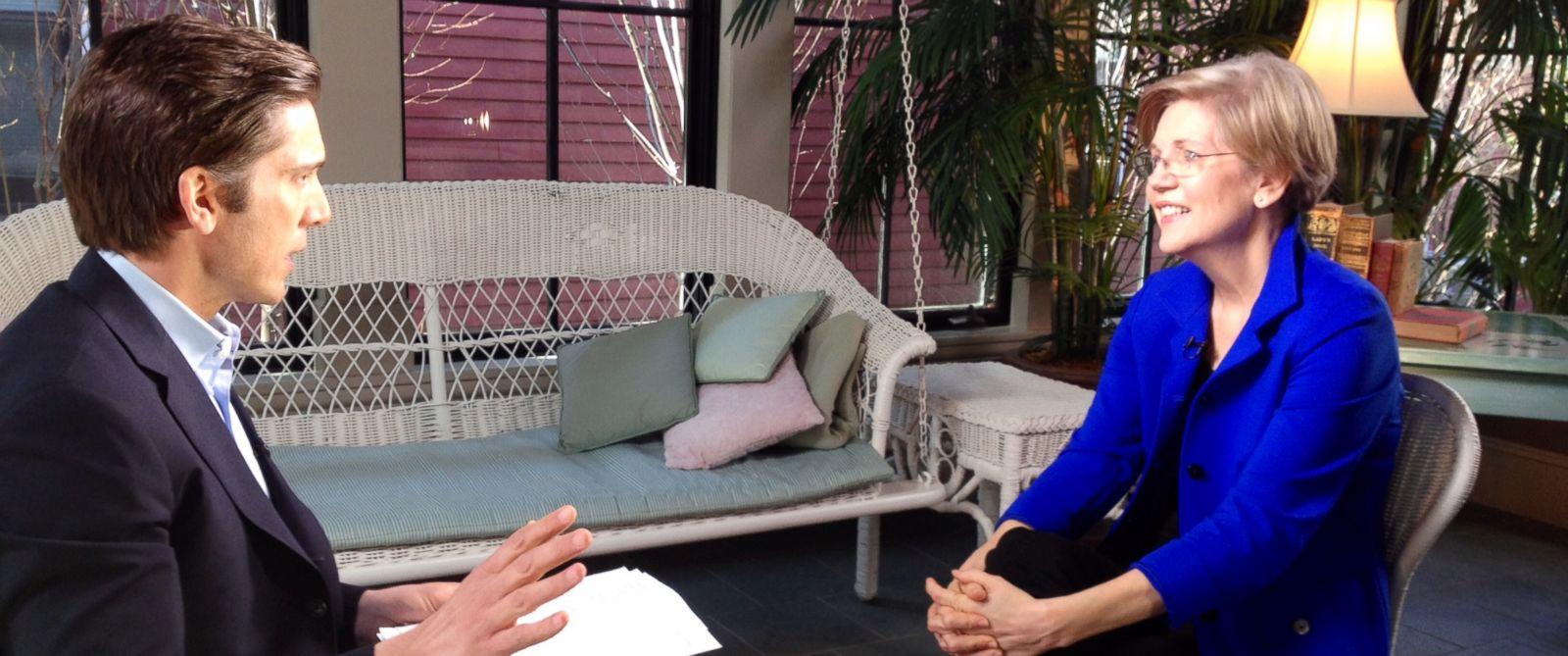 PHOTO: ABC News David Muir interviews Sen. Elizabeth Warren, D-Mass., at her Massachusetts home, April 17th, 2014.