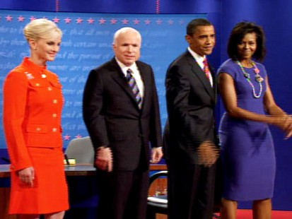 pic of the mccains and obamas at the third and final presidential debate