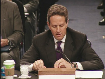 ABC News video of Tim Geithner Senate Banking committee hearing.
