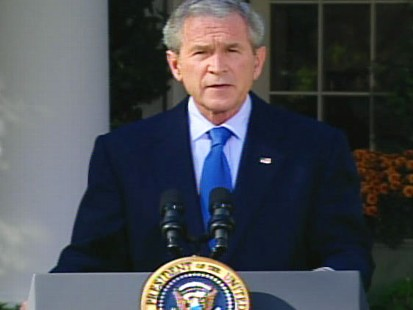 pic of george bush on the rose garden at the white house