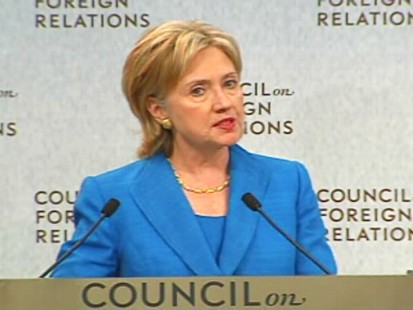 ABC News video of Hillary Clinton speaking at the Council on Foreign Relations.