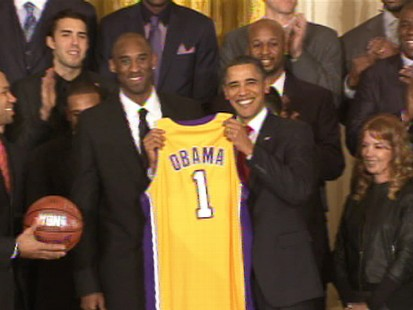 Video of President Obama honoring the Lakers basketball team.