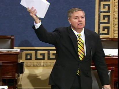 Video of Sen. Lindsay Graham and Sen. Barbara Boxer on the Senate floor during the stimulus debate.
