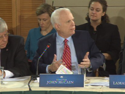 ABC News video of Sen. John McCain and President Obama sparring during health care summit.