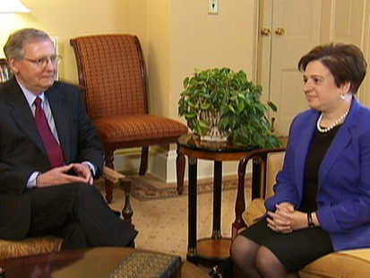 Video of Senator Mitch McConnell meeting with Elena Kagan on Capitol Hill.