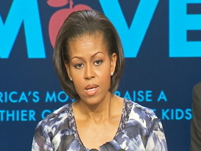 Video of Michelle Obama remarks on childhood obesity.