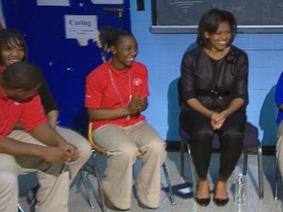 Video of Michelle Obama visiting a D.C. school to talk about career goals with the students.