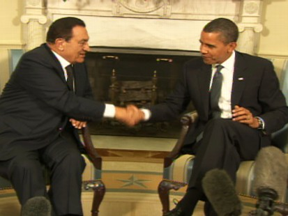 Video of President Obama meeting with Egyptian President Mubarak.