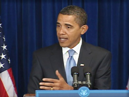 Video of Barack Obama discussing the economic stimulus at a press conference.