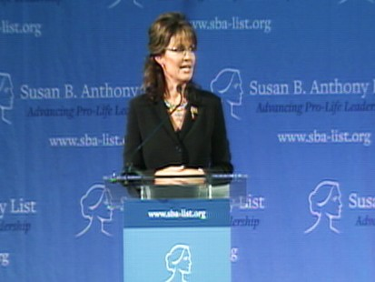 Video of Sarah Palin remarks on pro-life leadership in Washington, D.C.