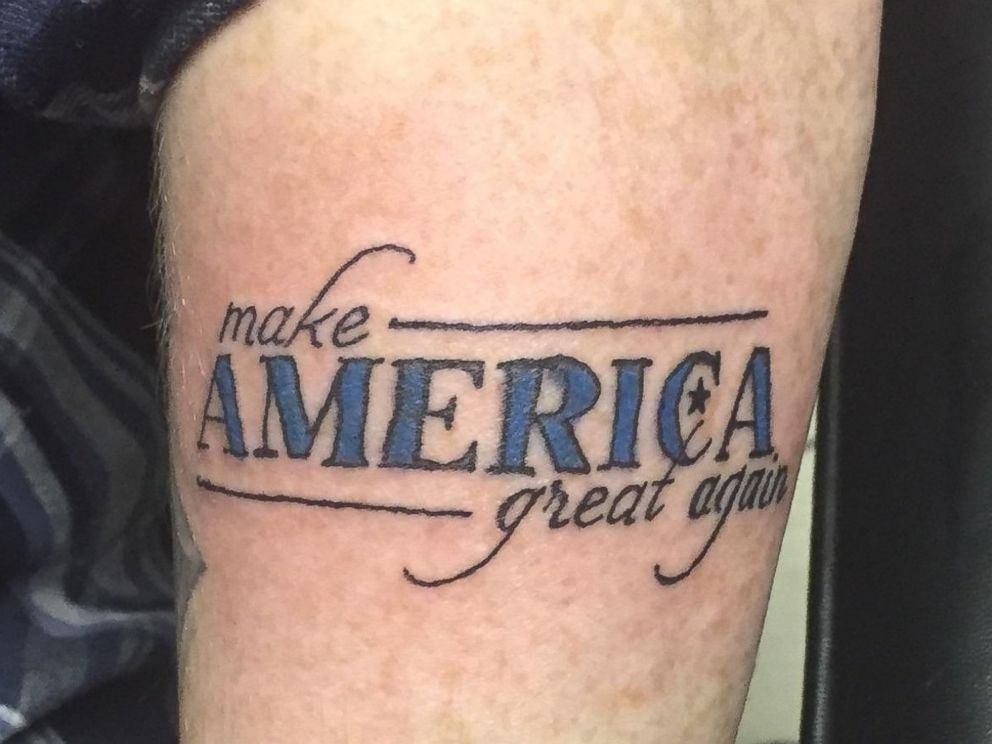 """... back Donald Trump tattoo so they can officially make a """"Trump Stamp"""