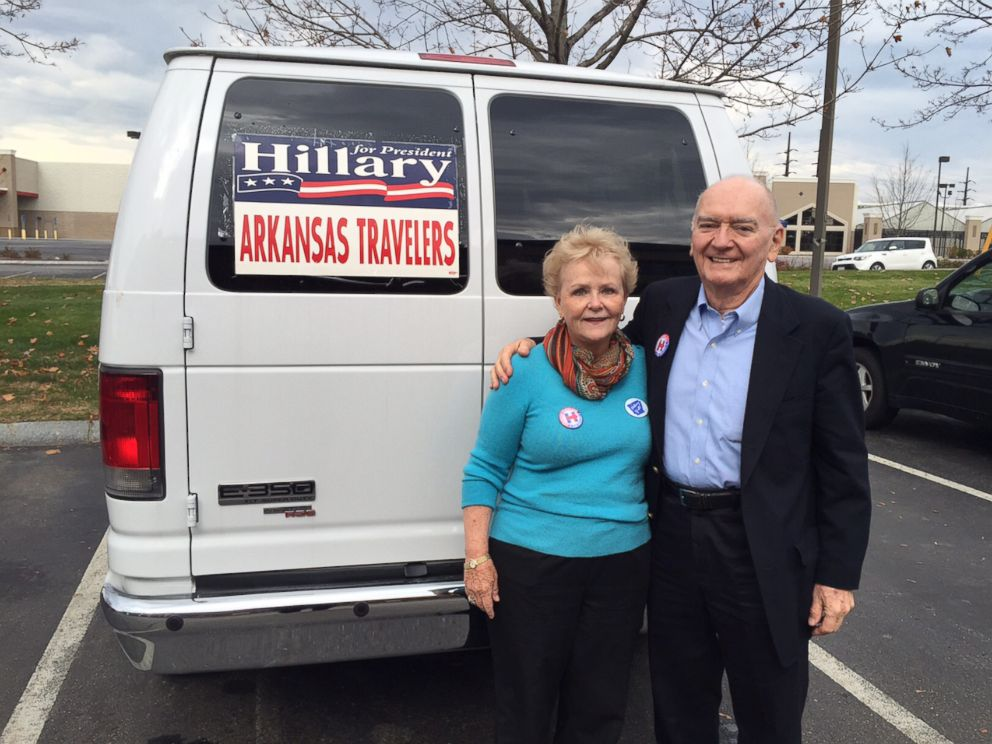 PHOTO: Travelers, Ann, 76, and Morriss Henry, 83, during a recent campaign trip to New Hampshire. The Henrys hosted Bill and Hillary Clintons wedding reception in Fayetteville, Ark. in 1975.