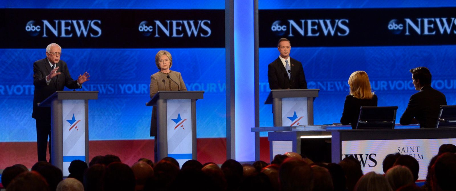 PHOTO: Sen. Bernie Sanders, Hillary Clinton and Martin OMalley at the Democratic Presidential debate at St. Anselm College in Manchester, N.H., Dec. 19, 2015.