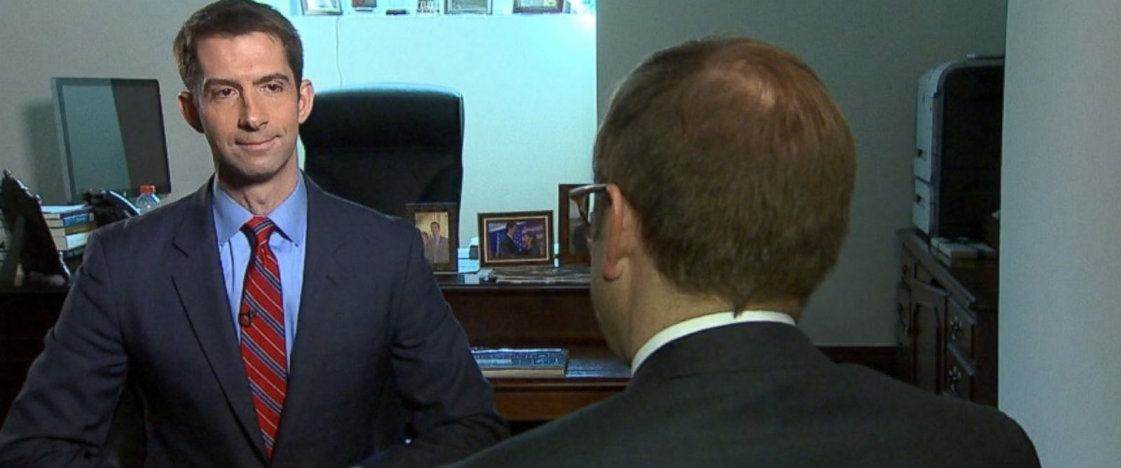 PHOTO: Sen. Tom Cotton talks to ABC News Jonathan Karl.