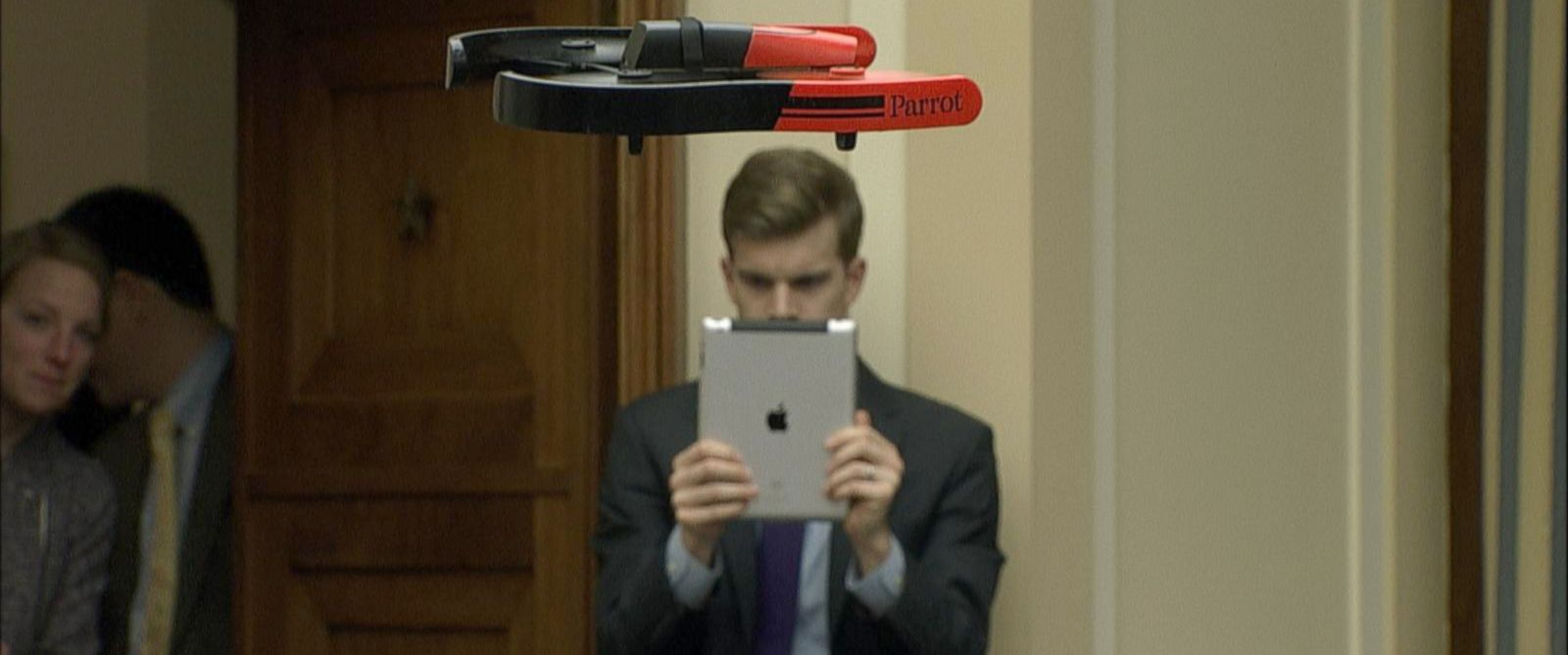 PHOTO: A drone flies overhead at a House Committee on Science, Space and Technology hearing.