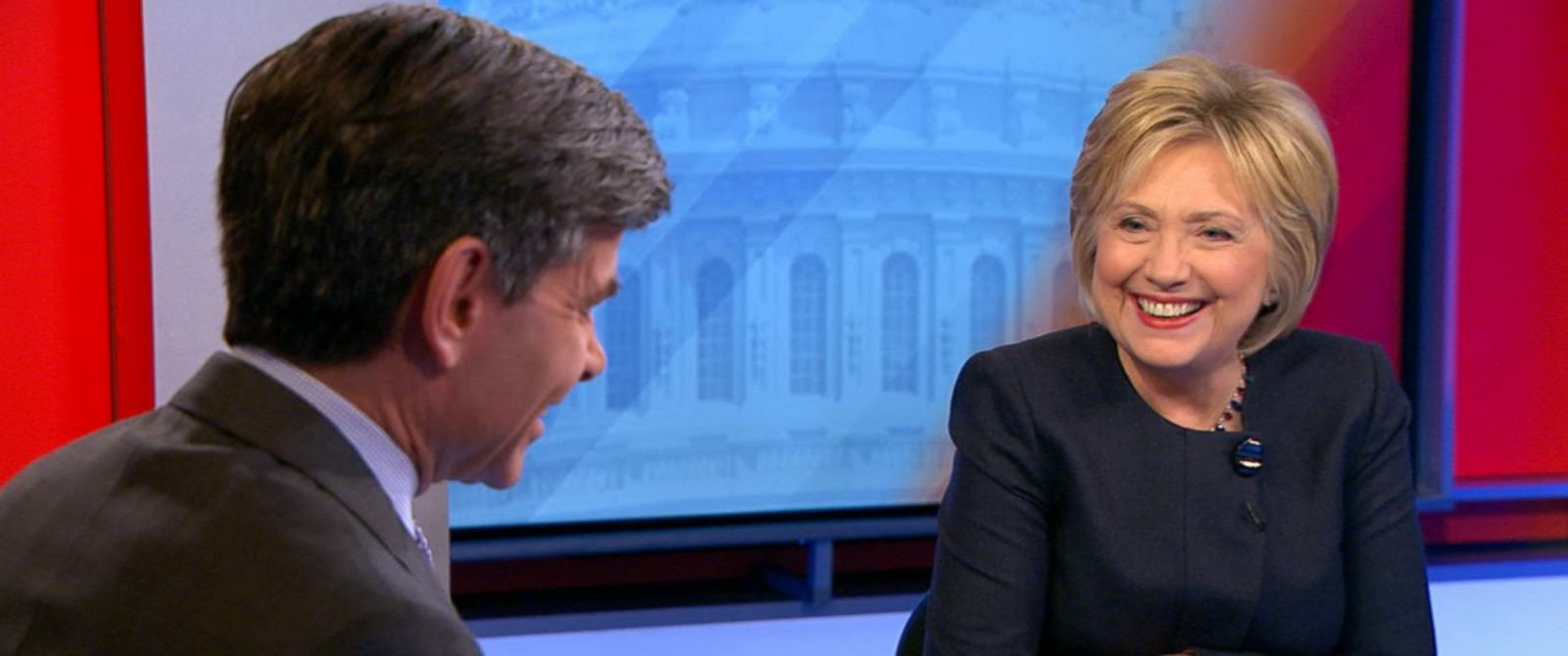 "PHOTO: Hillary Clinton, right, speaks with George Stephanopoulos live on ""Good Morning America,"" Jan. 13, 2016."