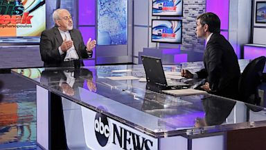 """PHOTO: Iranian Foreign Minister Javad Zarif is interviewed by ABCs George Stephanopoulos for """"This Week"""" on Sunday September 29, 2013."""