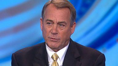 PHOTO: Speaker of the House Representative John Boehner (R) Ohio on This Week
