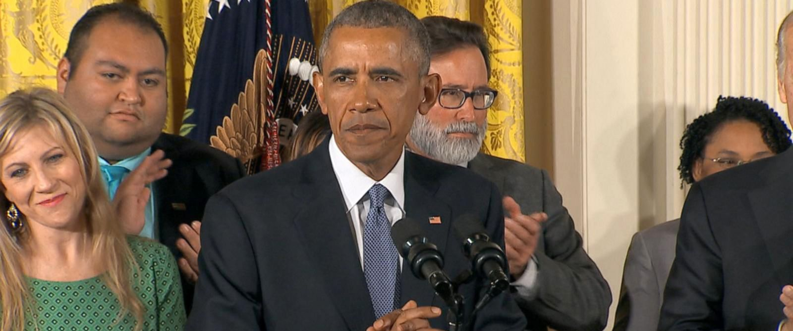 PHOTO: President Obama speaks about his new gun control measures, Jan. 5, 2016, from the White House.
