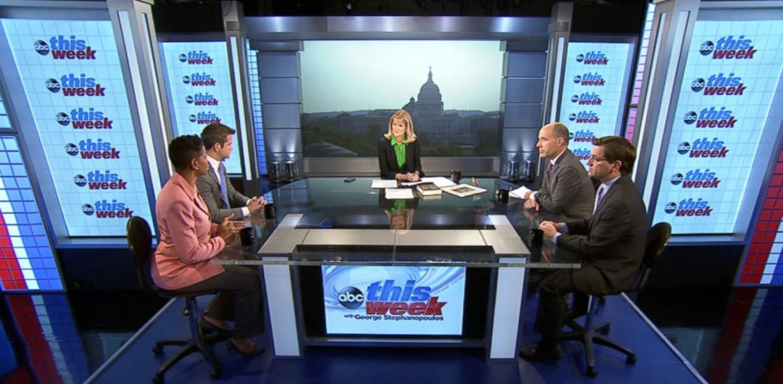 PHOTO: Representative Donna Edwards (D) Maryland, Representative Adam Kinzinger (R) Illinois, New York Times White House Correspondent Peter Baker, ABC News Political Analyst and Special Correspondent Matthew Dowd on This Week