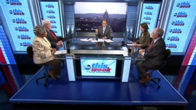 """PHOTO: ABC News Contributor and Democratic Strategist Donna Brazile, Former House Speaker Newt Gingrich, ABC News Contributor and The Weekly Standard Editor Bill Kristol, and Fusions """"AM Tonight"""" Alicia Menendez on This Week"""