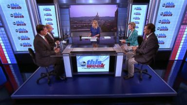 PHOTO: Rep Tom Cole (R) Oklahoma, ABC News Political Analyst Matthew Dowd, Former New Mexico Governor Bill Richardson, and ABC News Cokie Roberts on This Week