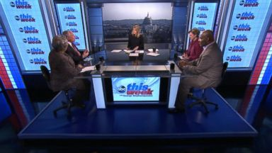 PHOTO: ABC News Contributor and Democratic Strategist Donna Brazile, ABC News Contributor and The Weekly Standard Editor Bill Kristol, ABC News Cokie Roberts, and The Wall Street Journal Columnist Bret Stephens on This Week