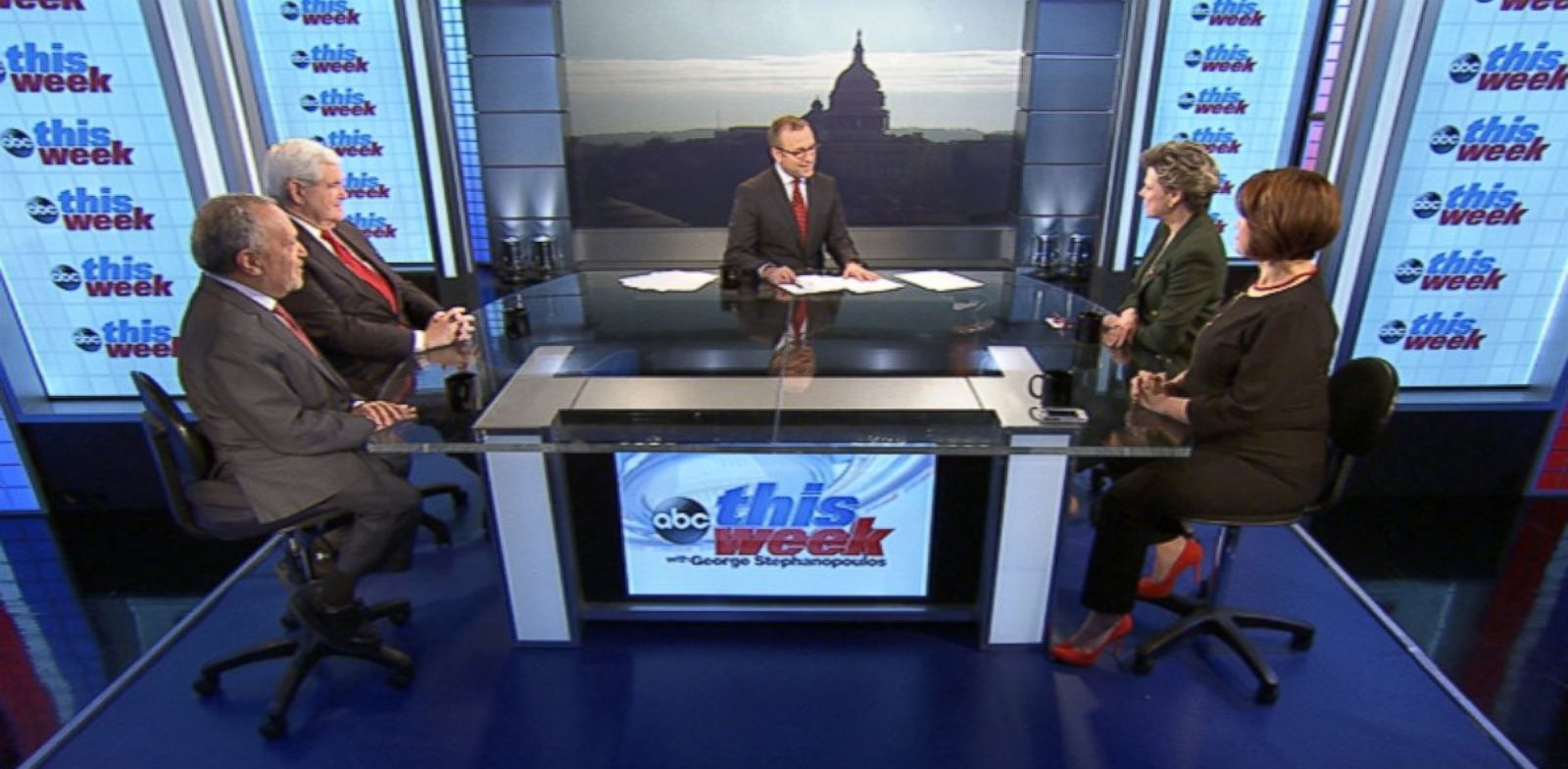 PHOTO: Cokie Roberts, Newt Gingrich, Robert Reich, Ana Navarro on This Week