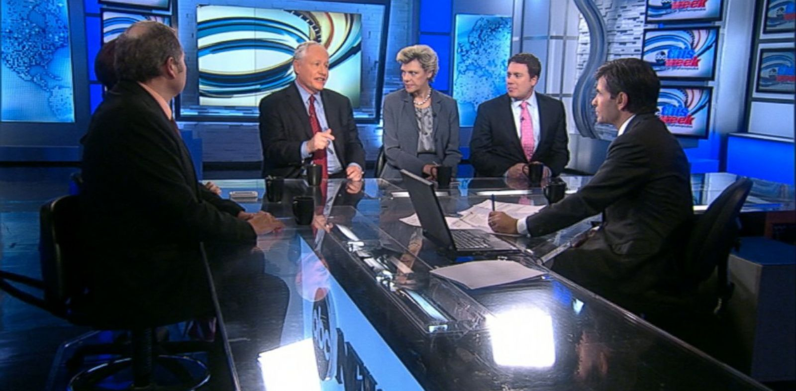 PHOTO: ABC News Cokie Roberts, The Weekly Standard Editor Bill Kristol, Republican Strategist and CNN Contributor Ana Navarro, Former Montana Governor Brian Schweitzer, and BuzzFeed.com Editor-in-Chief Ben Smith on This Week