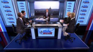 "PHOTO: ABC News Cokie Roberts, Yahoo News National Political Columnist Matt Bai, CNNs ""Crossfire"" Co-Host Van Jones, Former U.S. Senator (R-PA) Rick Santorum and Fox News Anchor Greta Van Susteren on This Week"