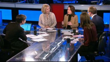 """PHOTO: ABC News Chief White House Correspondent Jonathan Karl, Host, Fusions """"AM Tonight"""" Alicia Menendez, The Nation Editor and Publisher Katrina vanden Heuvel, and The Wall Street Journal Columnist Peggy Noonan on This Week"""