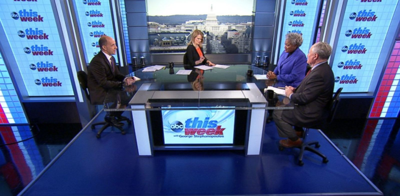 PHOTO: ABC News Contributor and Democratic Strategist Donna Brazile, ABC News Political Analyst and Special Correspondent Matthew Dowd, and ABC News Contributor and The Weekly Standard Editor Bill Kristol on This Week