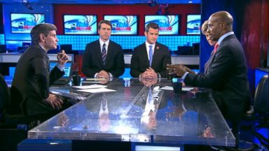 """PHOTO: CNNs """"Crossfire"""" Co-Host Van Jones, Rep. Adam Kinzinger (R) Illinois, National Review Editor Rich Lowry and ABC News Cokie Roberts on This Week"""