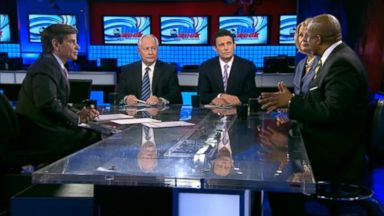 PHOTO: ABC News Contributor and The Weekly Standard Editor Bill Kristol, The Wall Street Journal Columnist Peggy Noonan, The New Yorker Editor David Remnick, and Television and Radio Host Tavis Smiley on This Week