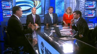 """PHOTO: ABC News Political Analyst Matthew Dowd, Fusions """"AM Tonight"""" Host Alicia Menendez, Rep. Tom Cole (R) Oklahoma, Former New Mexico Governor (D) Bill Richardson and ABC News Chief Global Affairs Correspondent Martha Raddatz on This Week."""