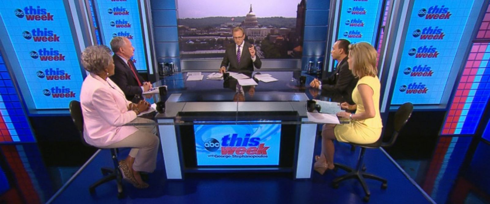 PHOTO: Rep. Luis Gutierrez (D) Illinois, ABC News Contributor and Democratic Strategist Donna Brazile, ABC News Contributor and Syndicated Radio Host Laura Ingraham, and ABC News Contributor and The Weekly Standard Editor Bill Kristol on This Week