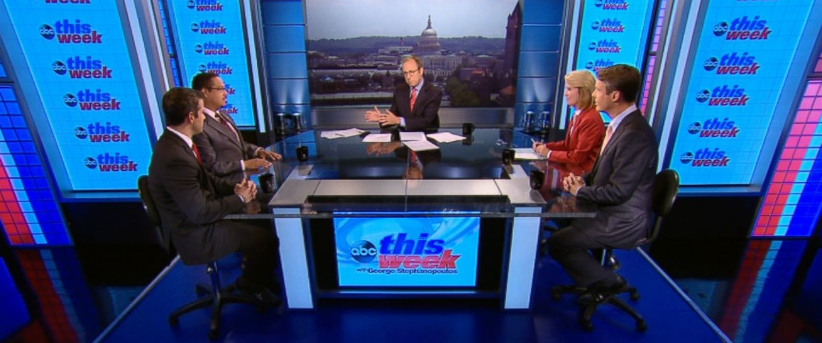 PHOTO: Rep. Keith Ellison (D) Minnesota, Rep. Adam Kinzinger (R) Illinois, ABC News Chief Foreign Correspondent Terry Moran, and Fox News Anchor Greta Van Susteren on This Week.