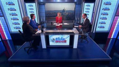 PHOTO: ABC News Contributor and Democratic Strategist Donna Brazile, ABC News Contributor and Republican Strategist Ana Navarro, and ABC News Chief White House Correspondent Jonathan Karl on This Week