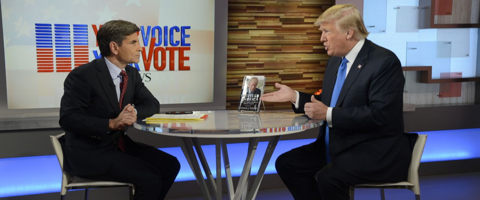 """PHOTO: Donald Trump speaks with George Stephanopoulos live on """"Good Morning America"""" in Times Square, New York, Nov. 3, 2015."""