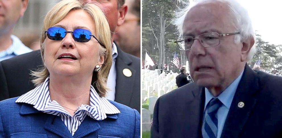 PHOTO: Democratic presidential candidate Hillary Clinton at a Memorial Day parade, May 30, 2016, in Chappaqua, New York; Democratic presidential candidate Bernie Sanders at the Presidio in San Francisco, May 30, 2016.