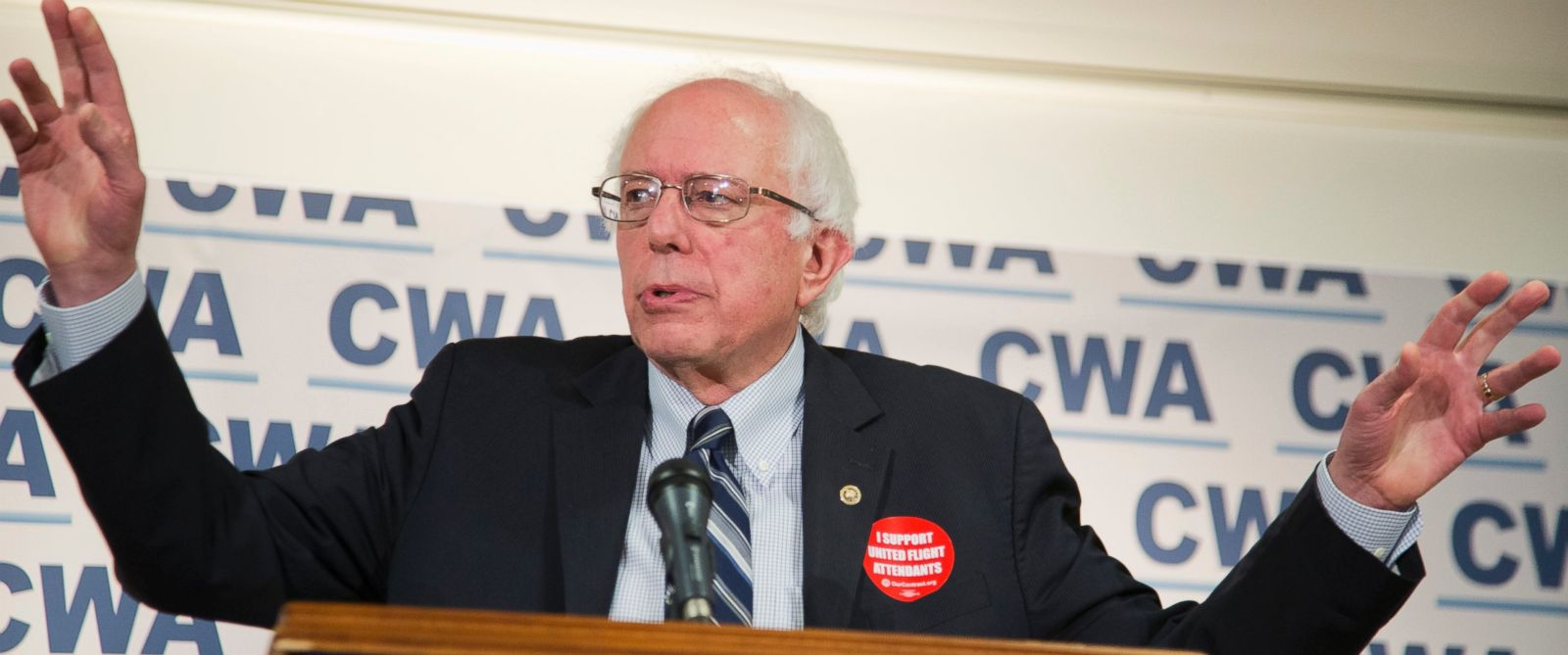 PHOTO: Democratic presidential candidate Sen. Bernie Sanders, I-Vt., speaks to reporters and members of the Communication Workers of America (CWA), following the unions endorsement of Sanders, Dec. 17, 2015, at the CWAs headquarters in Washington.