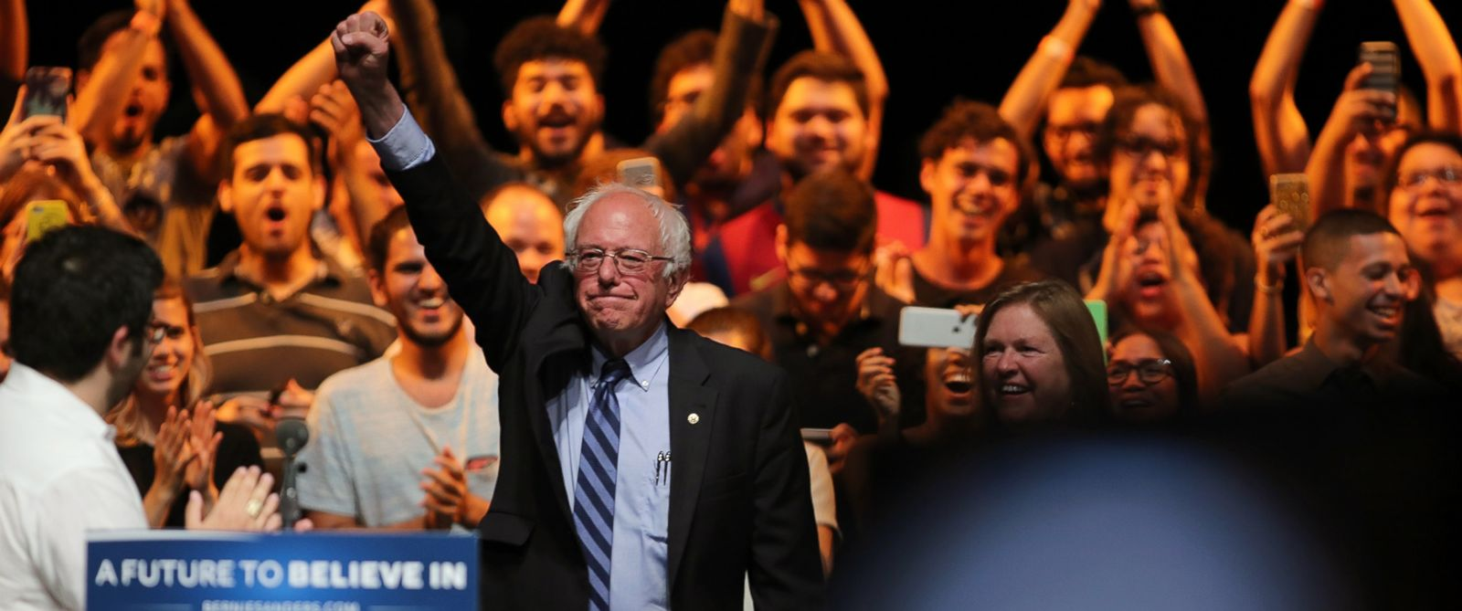 PHOTO: Democratic presidential candidate Sen. Bernie Sanders, I-Vt., greets students at the University of Puerto Rico Theater in San Juan, Puerto Rico, Monday, May 16, 2016.