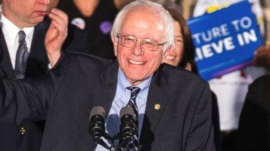 PHOTO: Bernie Sanders smiles as he speaks at his primary night rally, Feb. 9, 2016, in Concord, N.H.