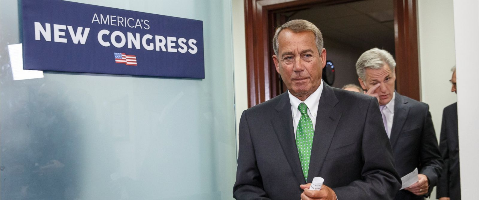 PHOTO: House Speaker John Boehner of Ohio, followed by House Majority Leader Kevin McCarthy, R-Calif., arrives to speak to reporters following a House GOP caucus meeting on Capitol Hill in Washington, Wednesday, Jan. 7, 2015.