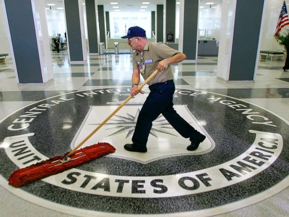 PHOTO: A workman slides a mop over the floor at the Central Intelligence Agency headquarters in Langley, Va, March 3, 2005.