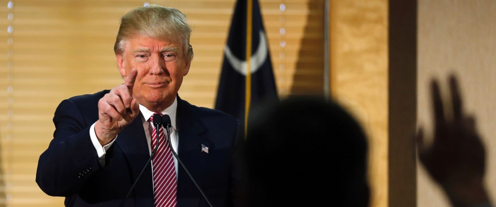 PHOTO: Republican presidential candidate Donald Trump calls on a member of the media during a news conference, Feb. 15, 2016, in Hanahan, South Carolina.