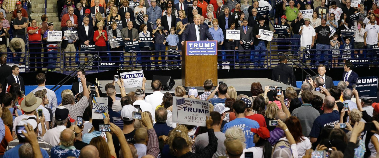 PHOTO: Republican presidential candidate Donald Trump speaks during a campaign rally in Fayetteville, N.C., March 9, 2016.