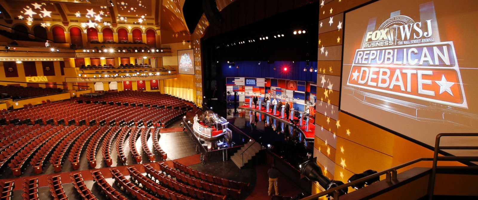 PHOTO: Workers stand in at the candidates podiums on Nov. 9, 2015, in preparation of for Tuesdays Republican debate in Milwaukee.
